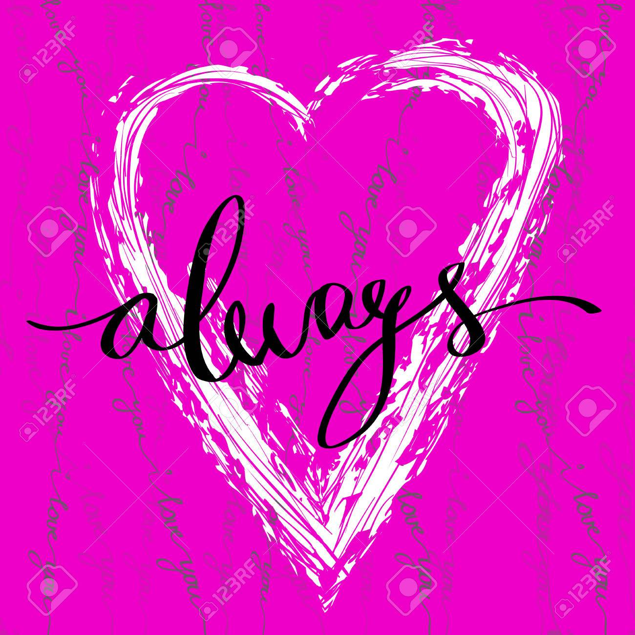 Hand drawn calligraphy valentine love card always lettering hand drawn calligraphy valentine love card always lettering love greetings poster and light background with m4hsunfo