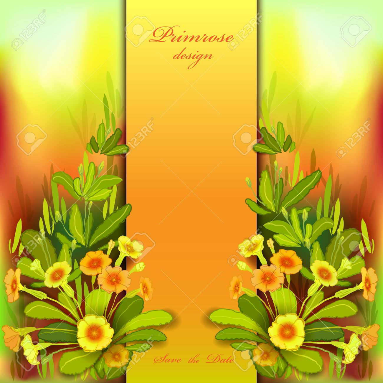 Spring Summer Flowers Floral Background Vertical Border Frame With Yellow Primroses And Green Leaves