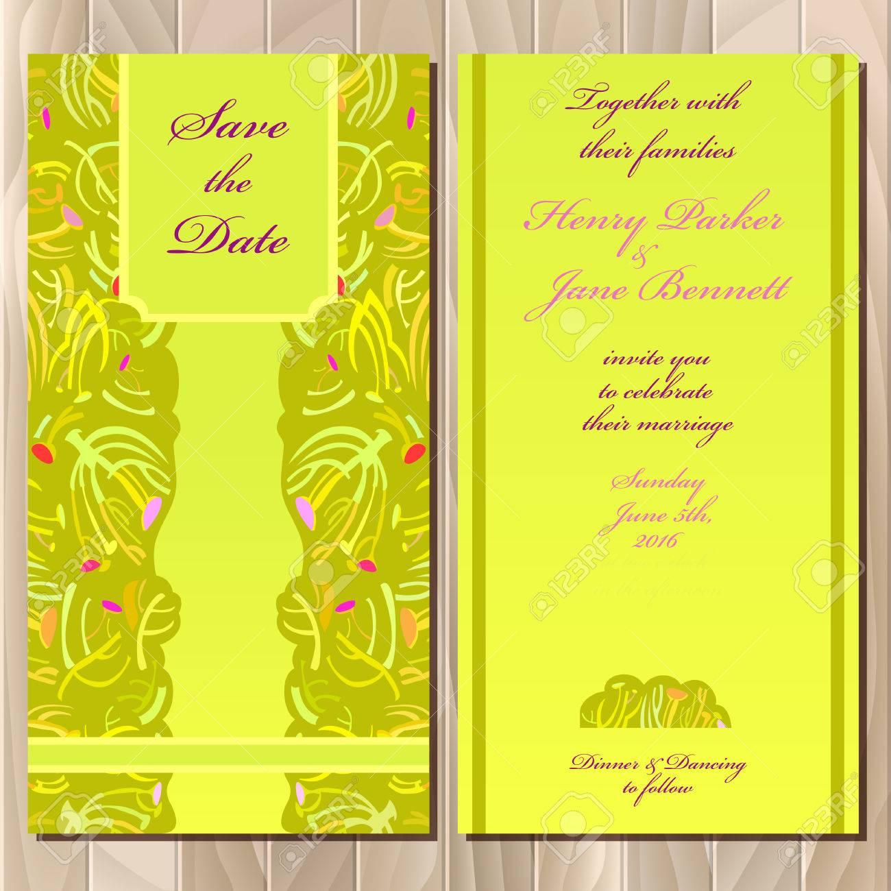 Wedding Invitation Spring Summer Green Yellow Card Design Printable