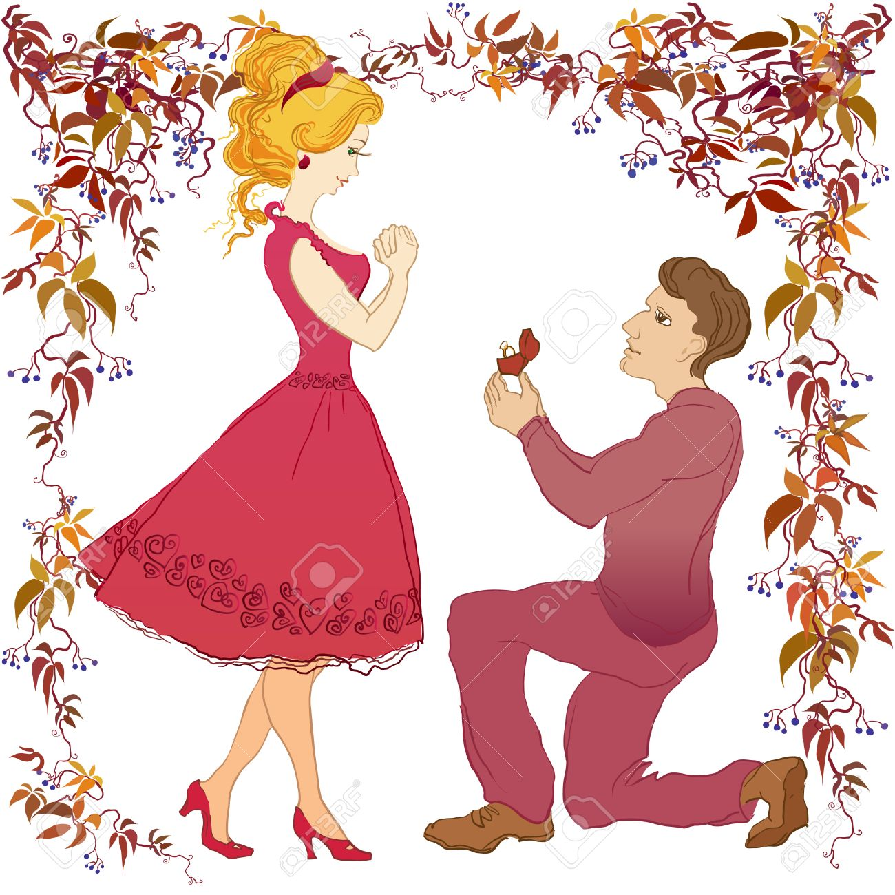 Marriage proposal vector cartoon love story boyfriend and his