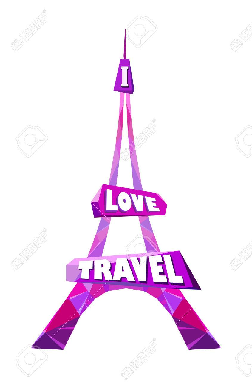 Eiffel Tower Shape Design Stylised Pink Polygonal With Text I Love Travel In