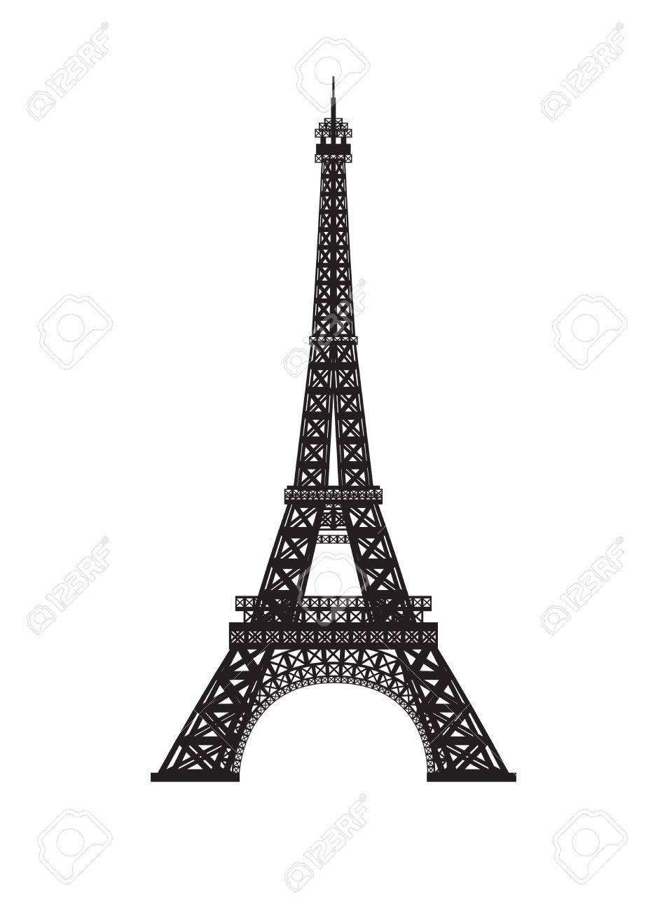 Eiffel tower isolated on white background. - 58665598