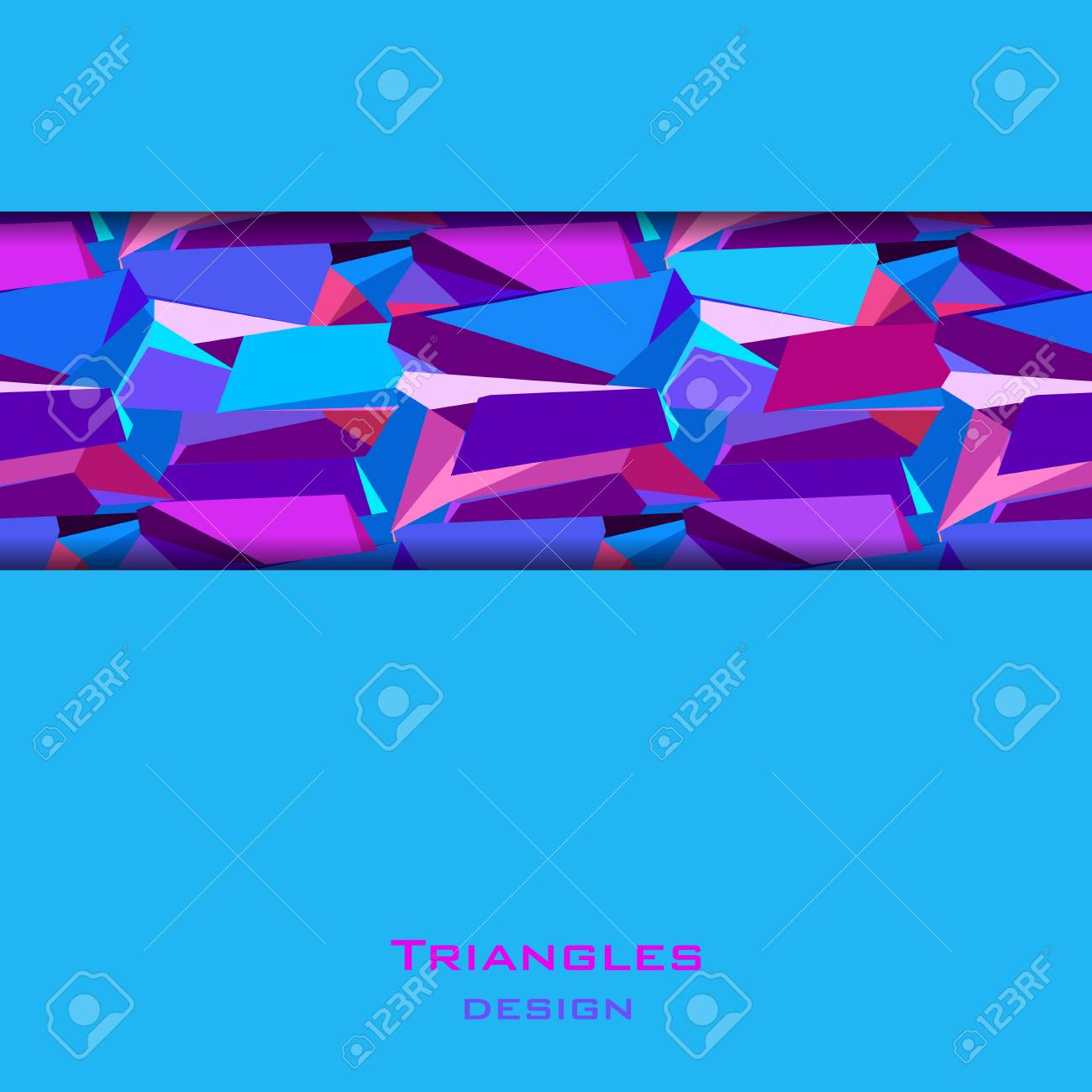 Blue Abstract Geometric Background Horizontal Blue Border Geometric