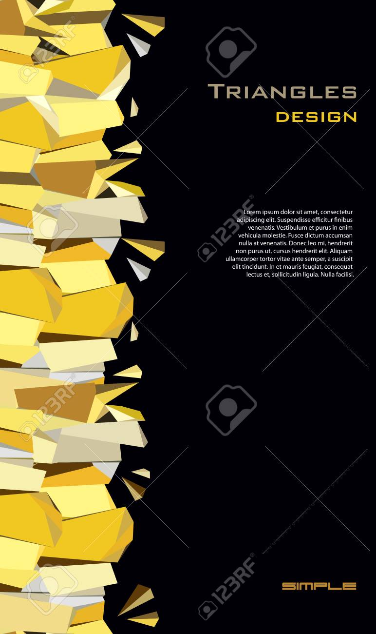 Black Gold Abstract Geometric Background Vertical Gold Border