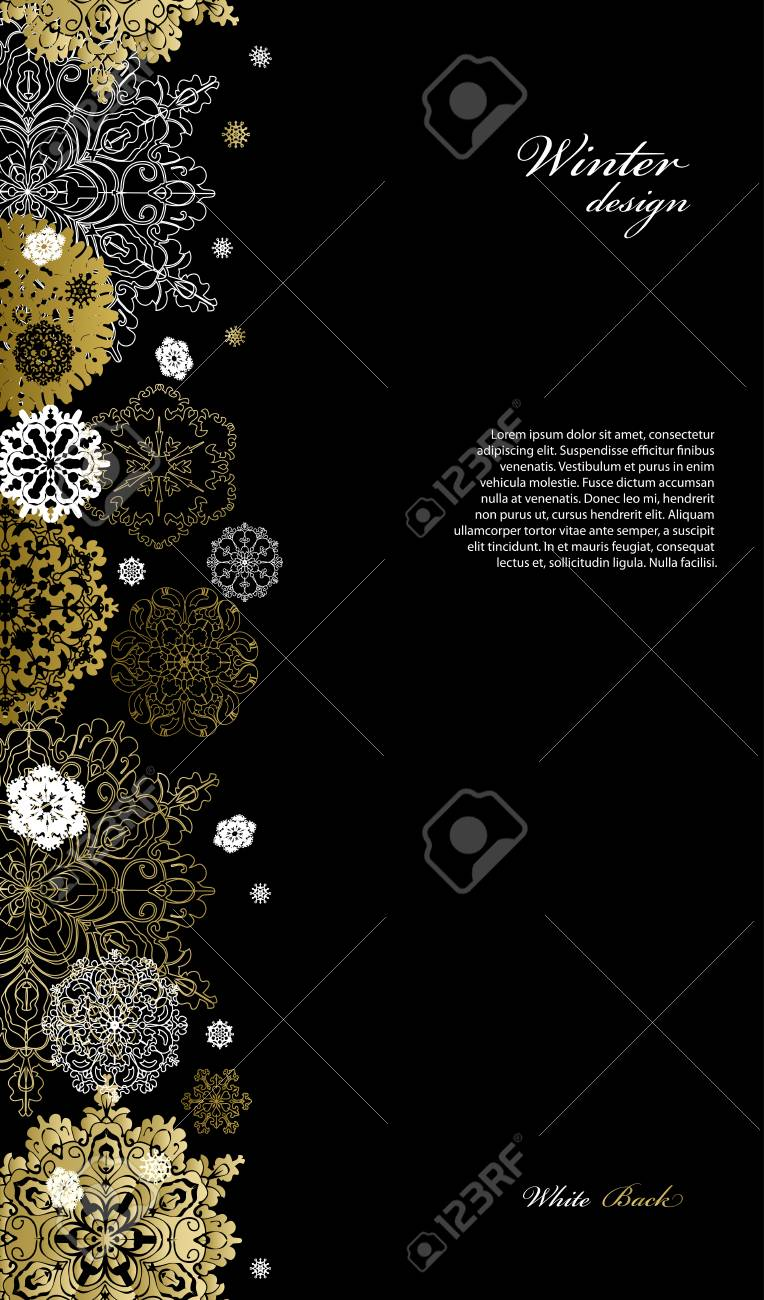 Winter Silver Abstract Design With Gold And White Snowflakes