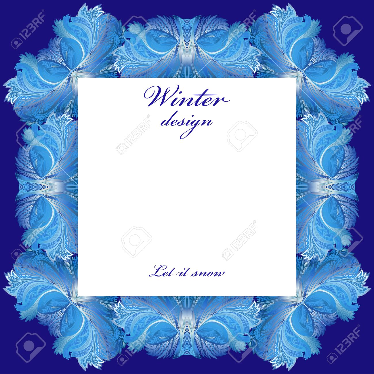Square Frame Frozen Glass Decor. Winter Holyday Blue Frost ...
