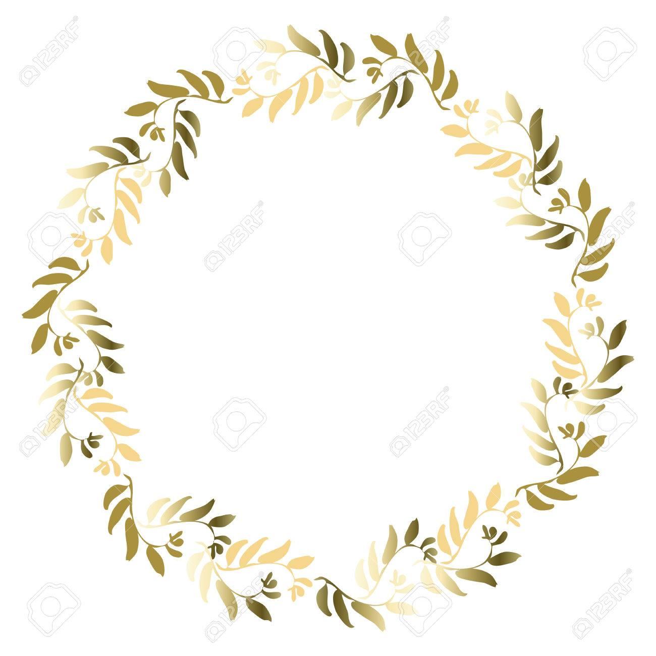 Marco Floral Del Círculo De Oro Para La Tarjeta De Felicitación Invitaciones Diseños De La Invitación De La Boda Aureola Alrededor Con Hojas De Oro