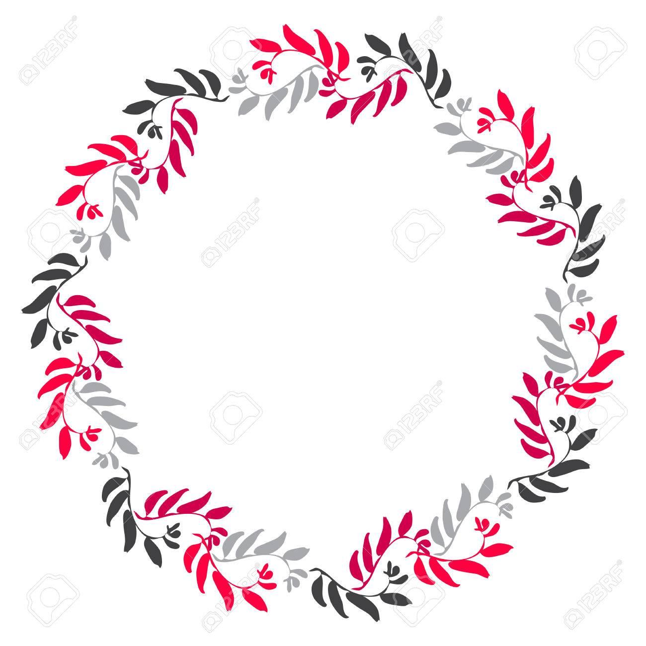 Marco Del Círculo Floral Para La Tarjeta De Felicitación Invitaciones Diseños De La Invitación De La Boda Aureola Alrededor Con Hojas De Color