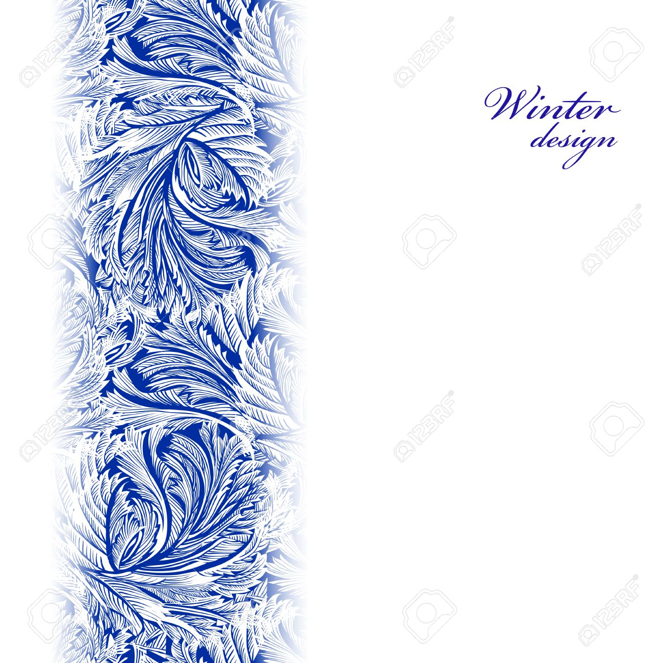 Border Frozen Glass Decor Winter Holiday Blue Frost Background Cyan And White