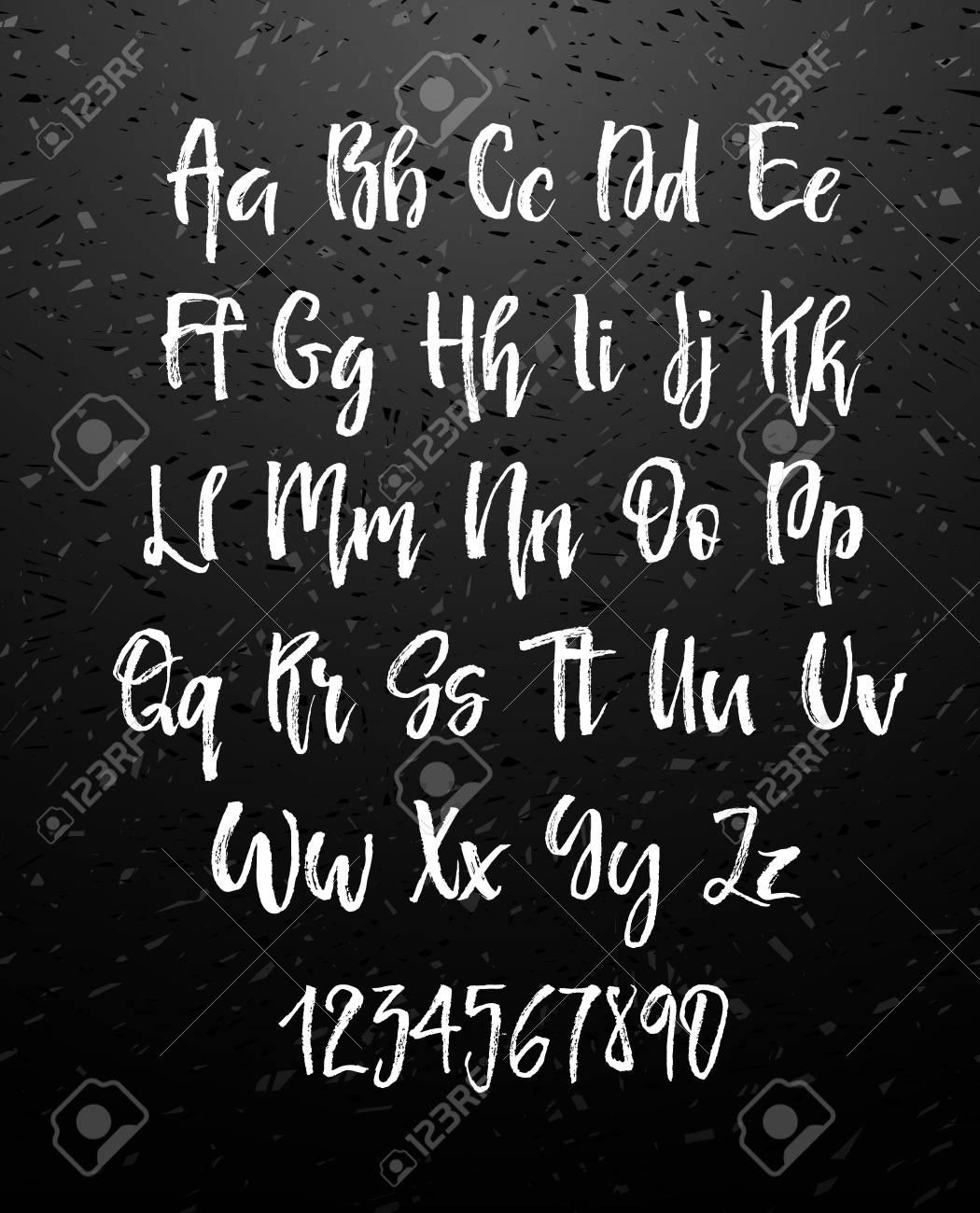 Handwritten Brush Style Modern Cursive Font Isolated On Chalkboard