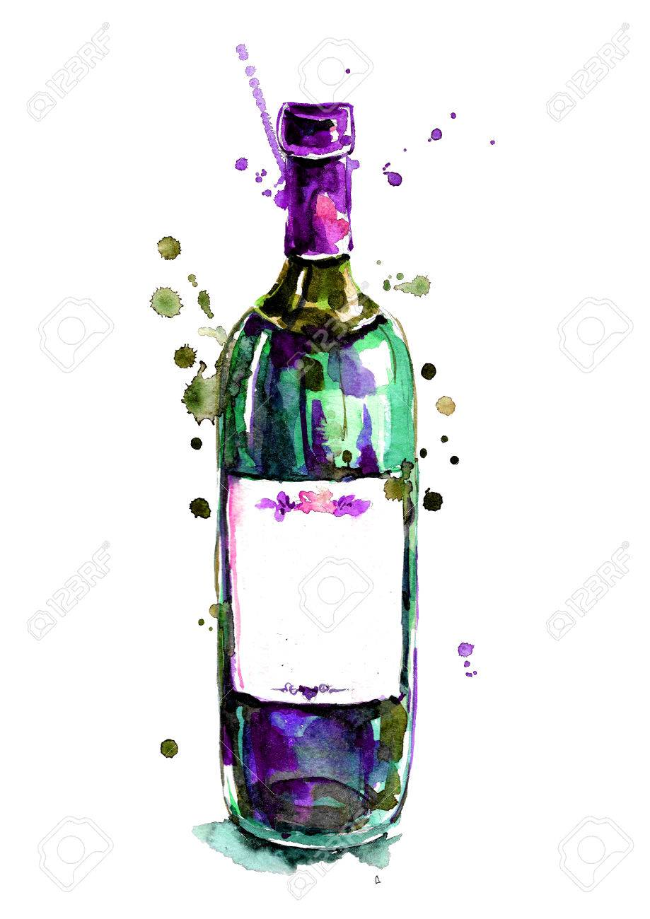 Watercolor Red Wine Bottle Stock Photo Picture And Royalty Free Image 69524754