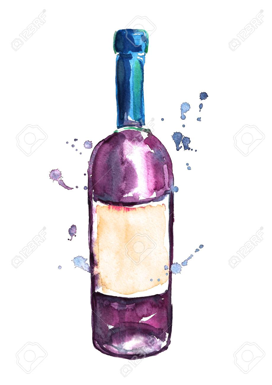 Watercolor Wine Bottles