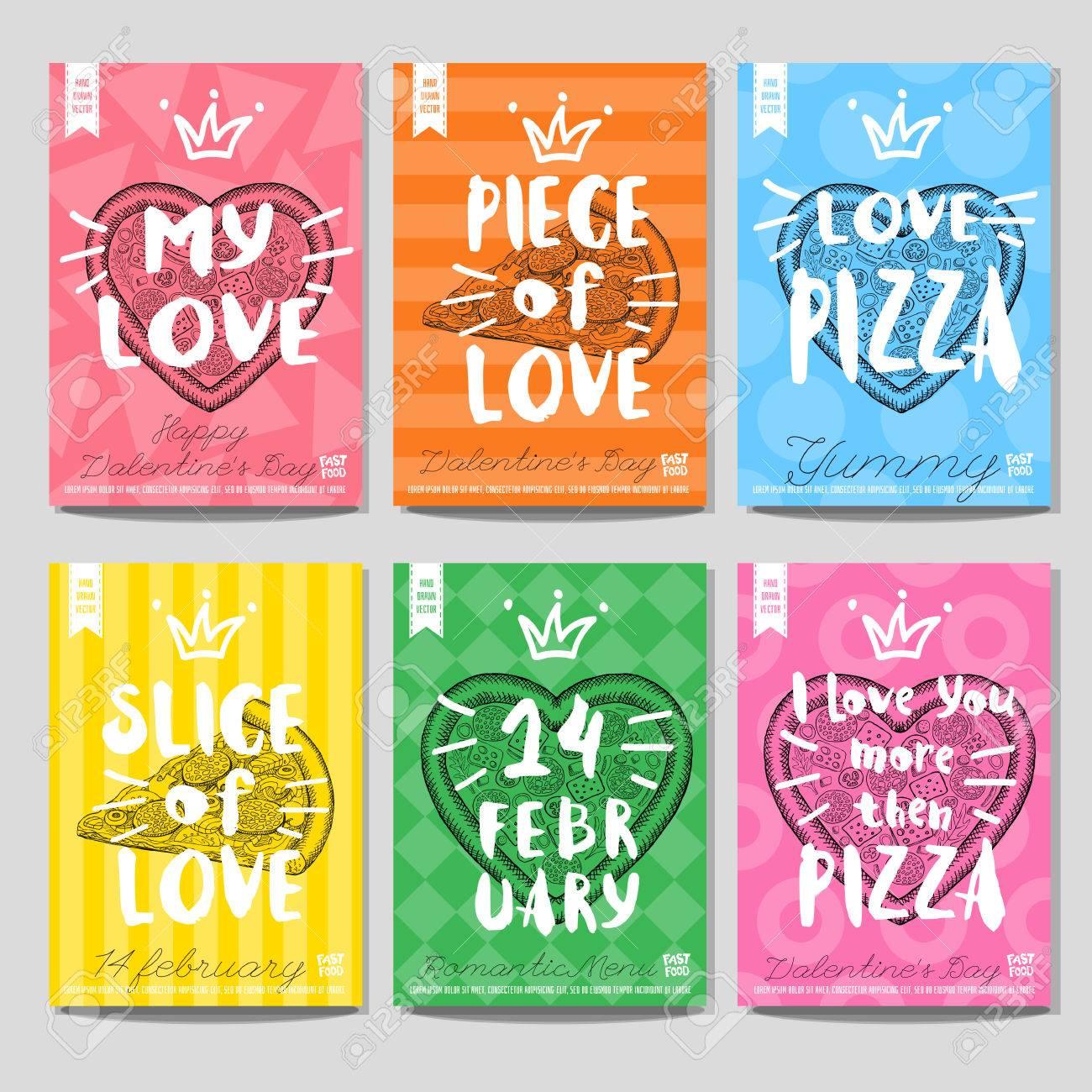 Conjunto De Colores Rápidos Posters De Alimentos Pizza Corazón