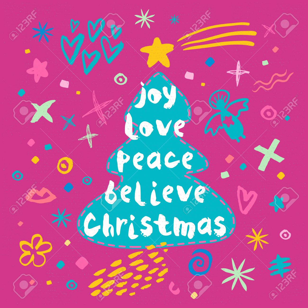 Joy Love Peace Believe Christmas Sketch Style. Christmas Lettering ...