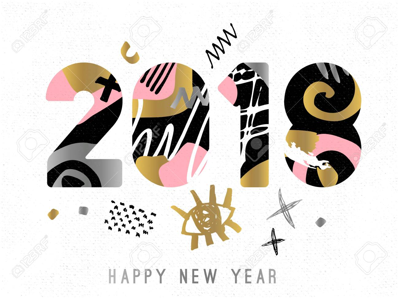 happy new year merry x mas lettering greeting card drawn vector elements