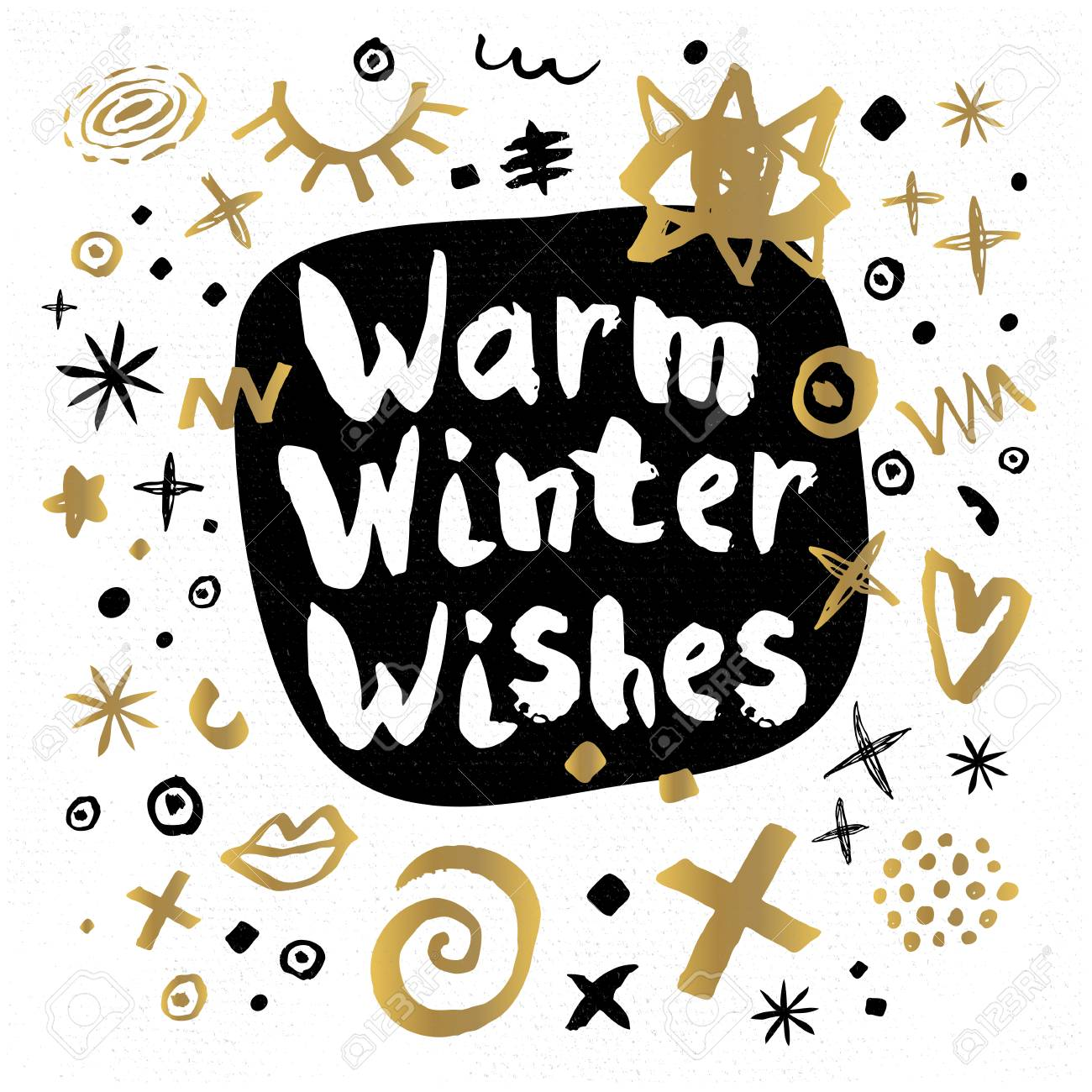 C Stock Quote Warm Winter Wishes Happy New Year Sketch Style Merry Christmas