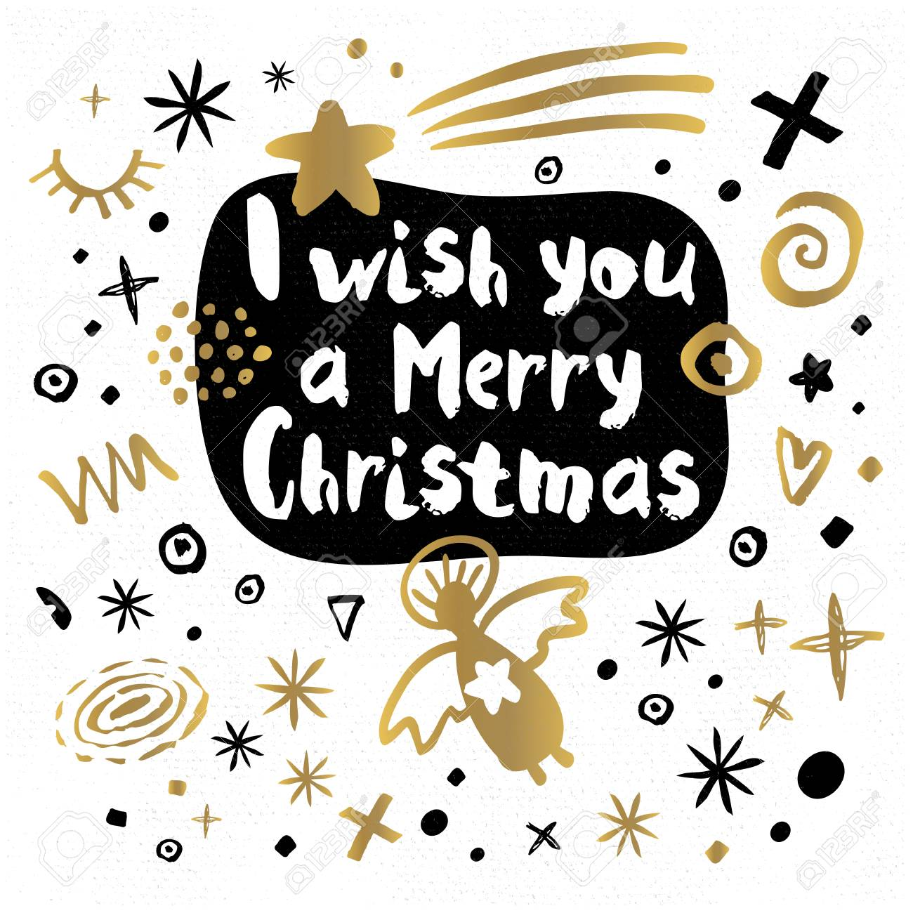 I Wish You Happy New Year Sketch Style Merry Christmas Quote ...
