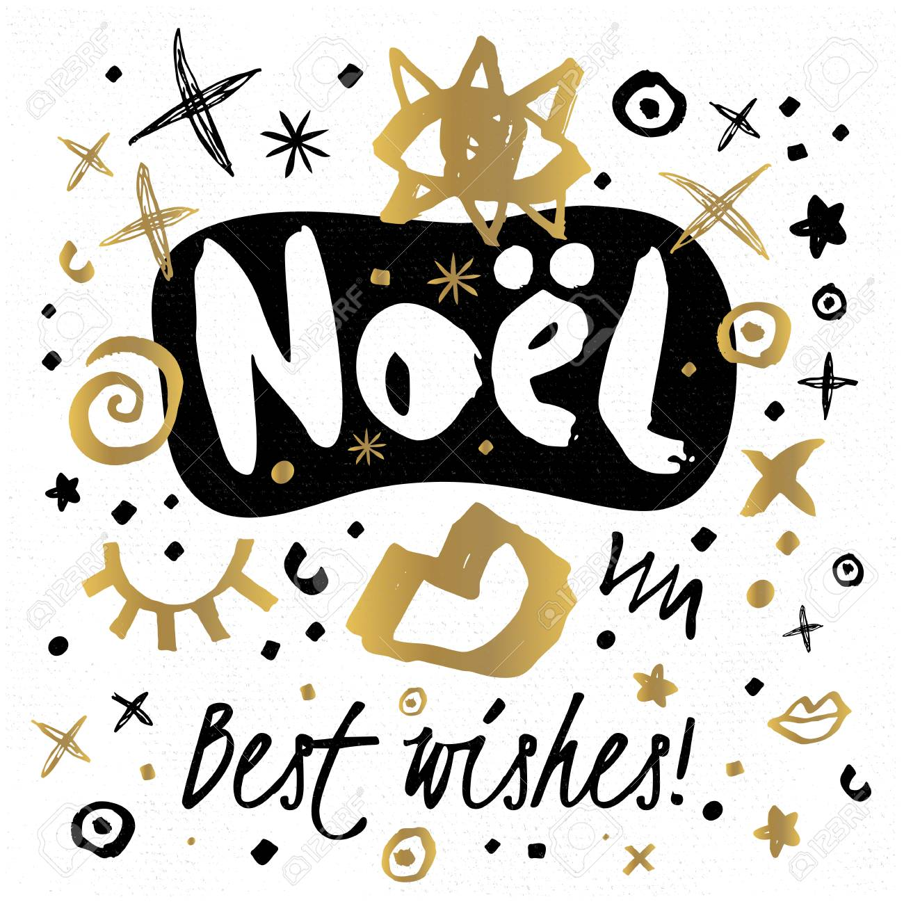 noel best wishes happy new year sketch style merry christmas quote lettering typography greeting card gold