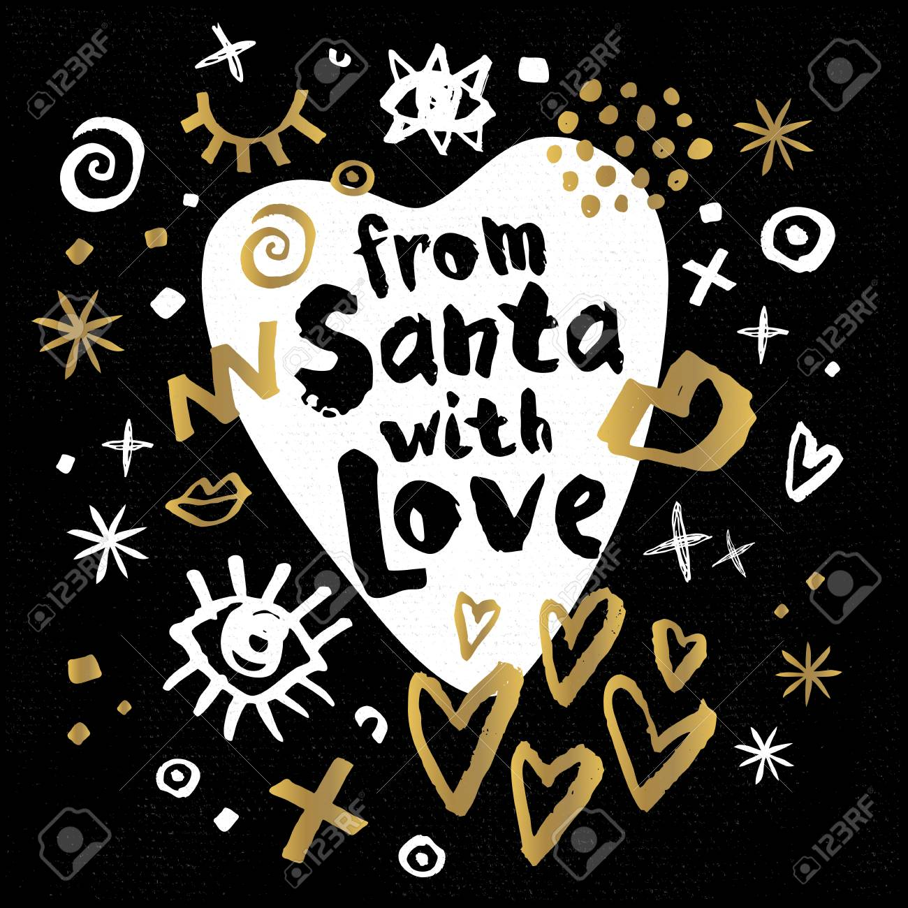From Santa With Love Happy New Year Sketch Style Merry Christmas Quote  Lettering Typography Greeting Card