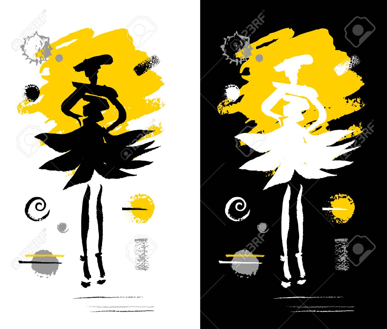 719f584eff9d Fashion poster trendy art design. Yellow black white grunge, ink, paint,  brushstrokes