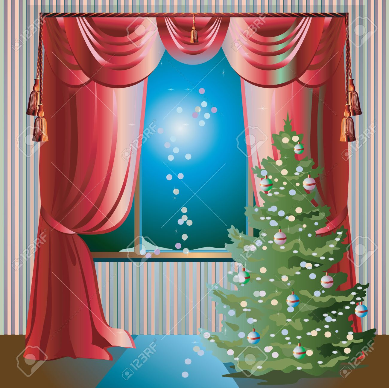 Colorful Illustration With Christmas Tree In The Room Near Window ... for Window With Curtains Illustration  55nar