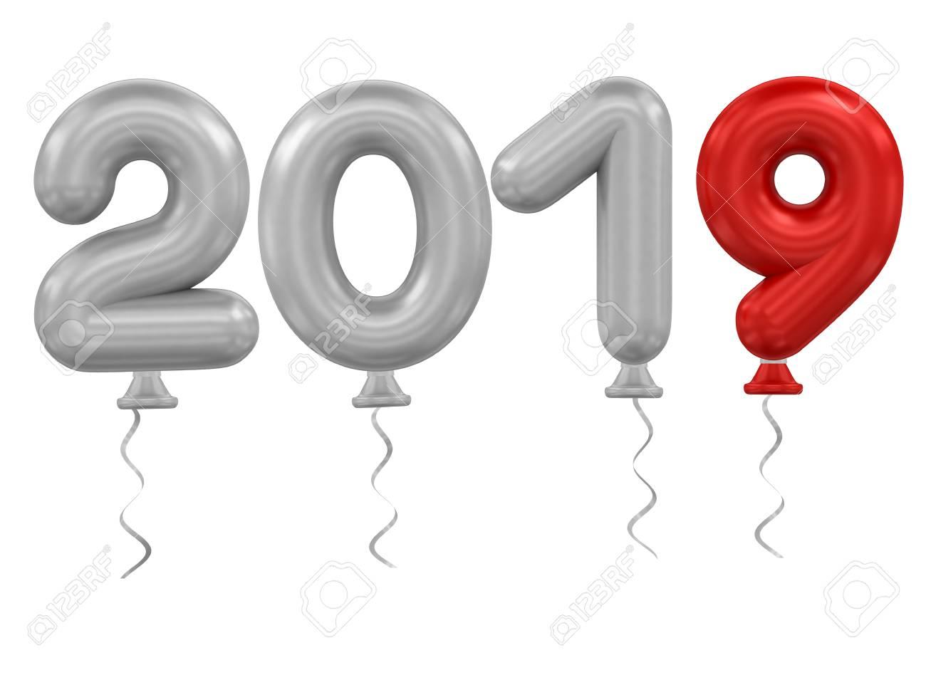 3d Rendering Model 2019 Balloons On White Background Stock Photo