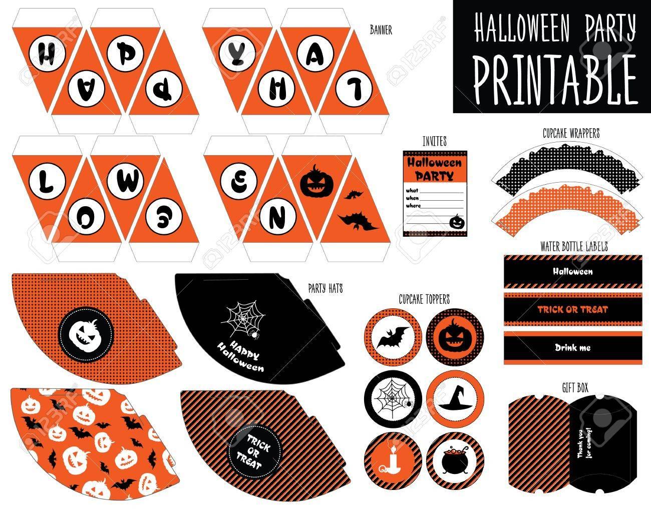 Druck-Set Für Halloween-Party. Handmade. Kuchenverpackungen ...