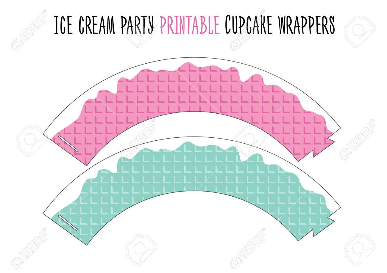 picture relating to Printable Cupcake Wrappers called Cupcake wrappers printable. Minimize. Ice product celebration