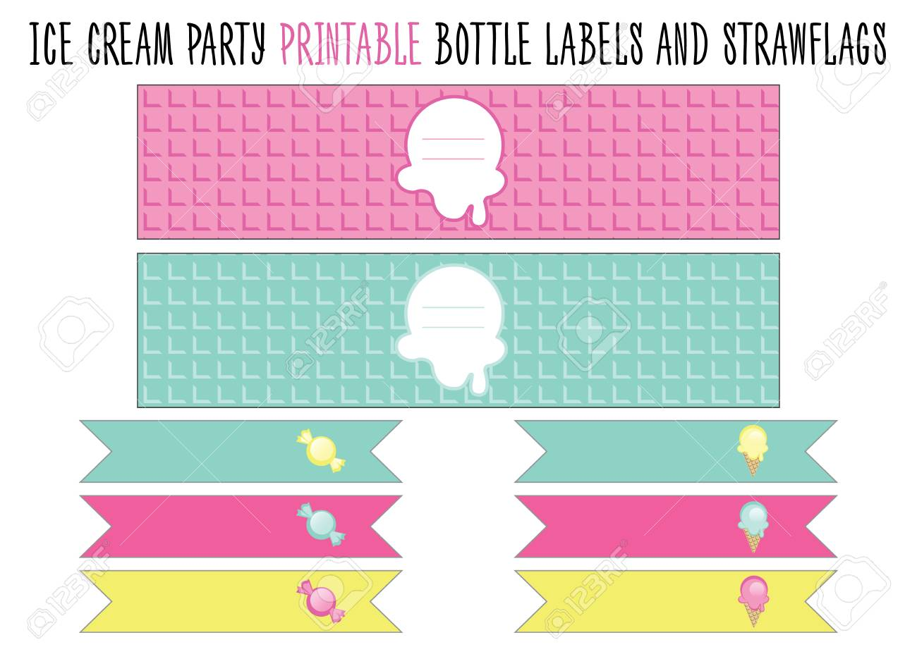 photo relating to Printable Bottle Labels named Bottle label and strawflags printable. Reduce. Ice product social gathering