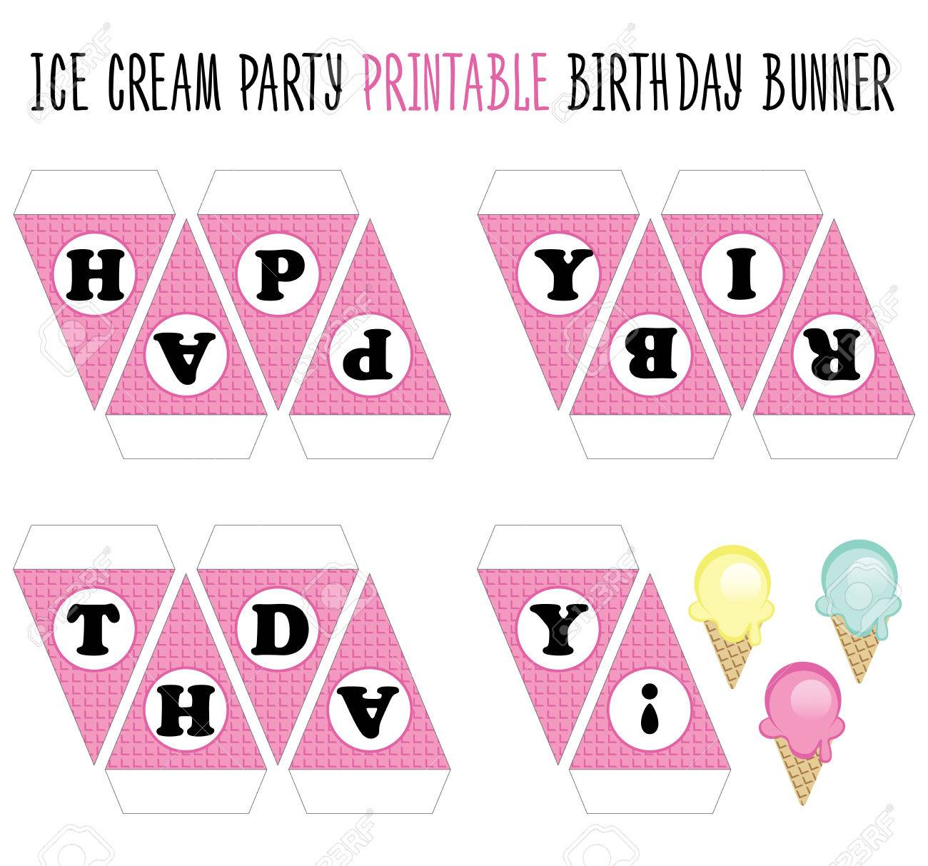 photograph relating to Printable Happy Birthday Banner referred to as Joyful Birthday Banner printable. Minimize. Ice product get together