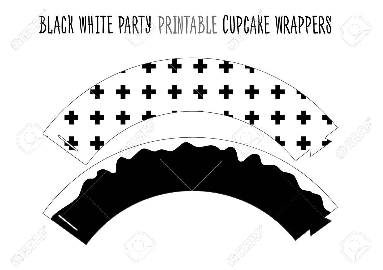 photo relating to Printable Cupcake Wrappers titled Printable cupcake wrappers for Black and white Bash. Do-it-yourself..