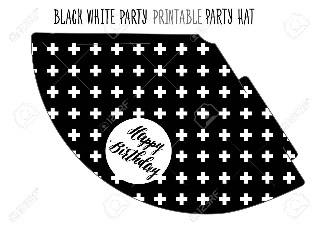 picture regarding Printable Birthday Hat identify Social gathering hat printable for Black and white Social gathering. Do-it-yourself slice out