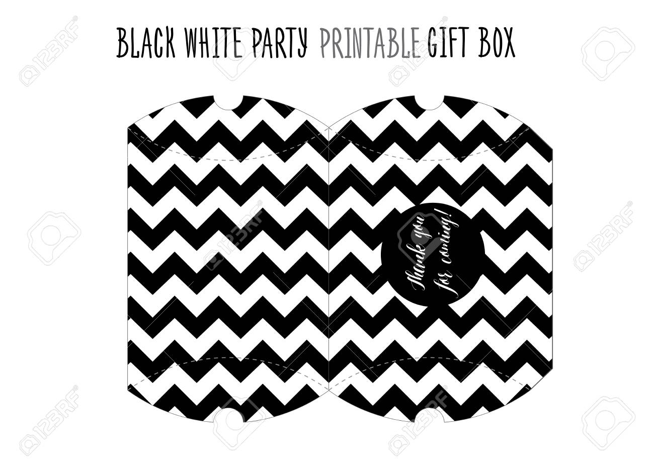 picture regarding Printable Gift Box known as Printable reward box for Black and white Bash. Homemade reduce out.