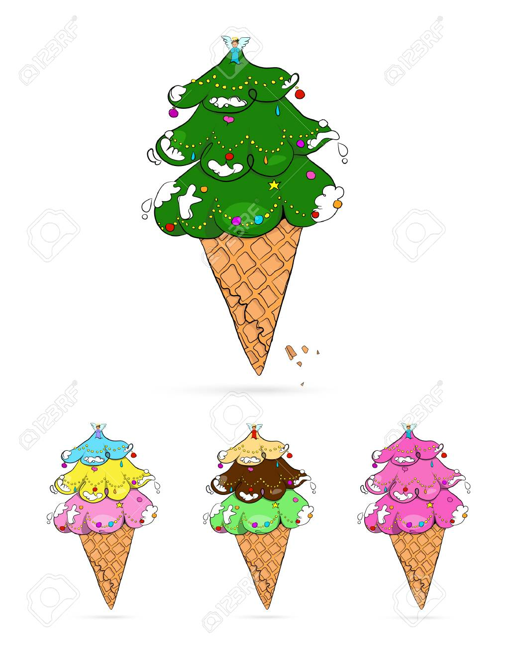 Vector Illustration Of Christmas Tree That Have Shape Of Ice ...