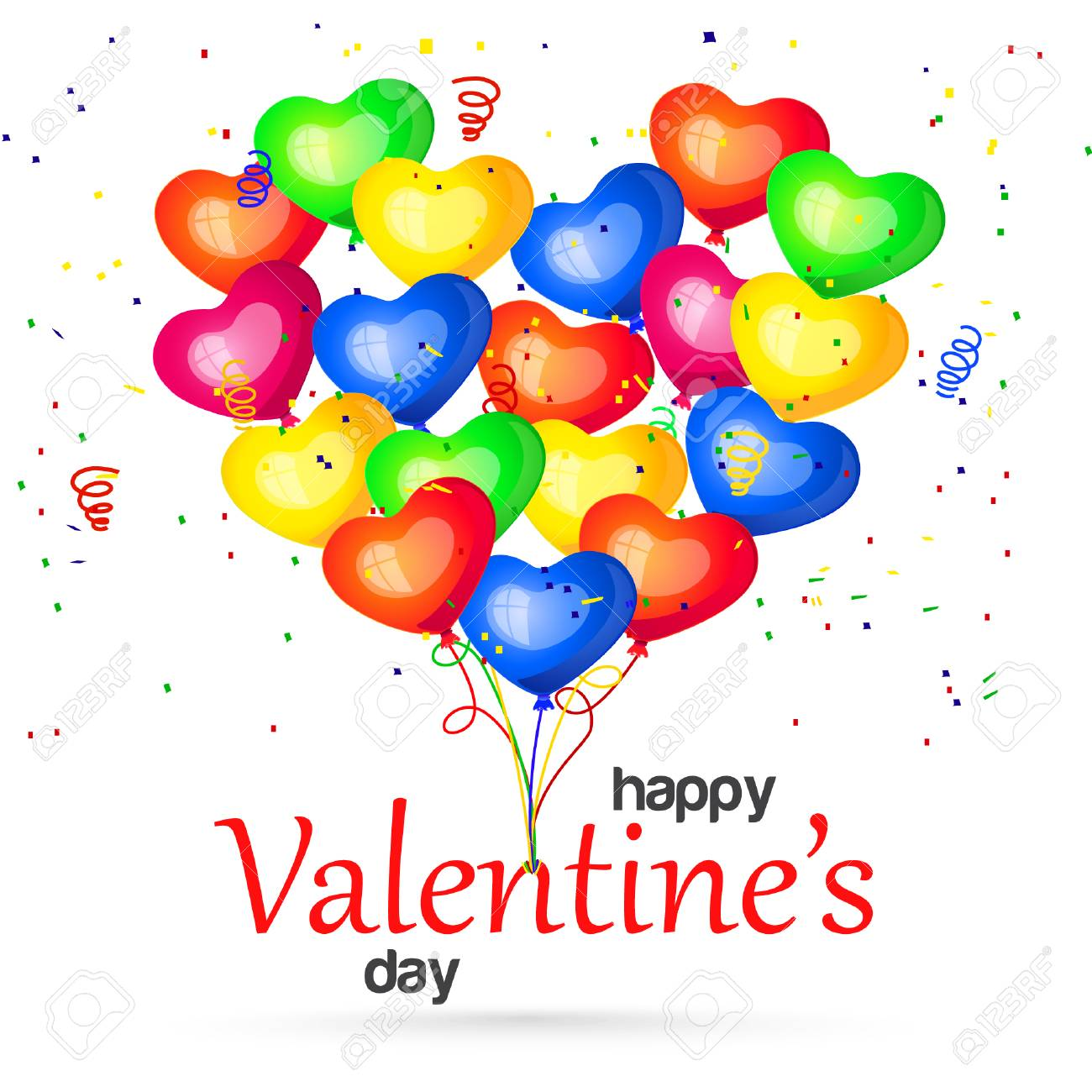 Happy Valentines Day. Colorful Heart Balloons. Postcard, Party ...