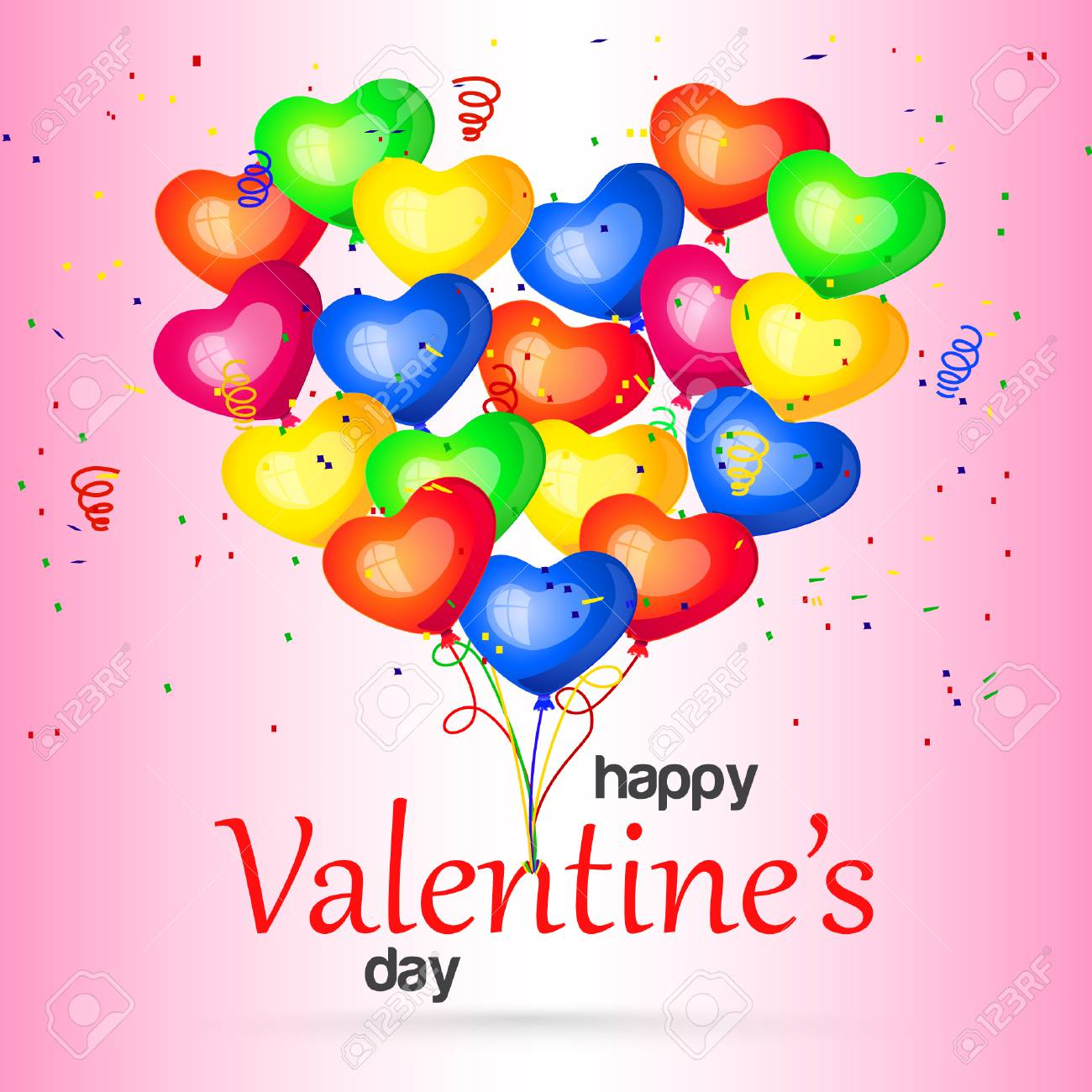 Happy Valentines Day Colorful Heart Balloons Postcard Party