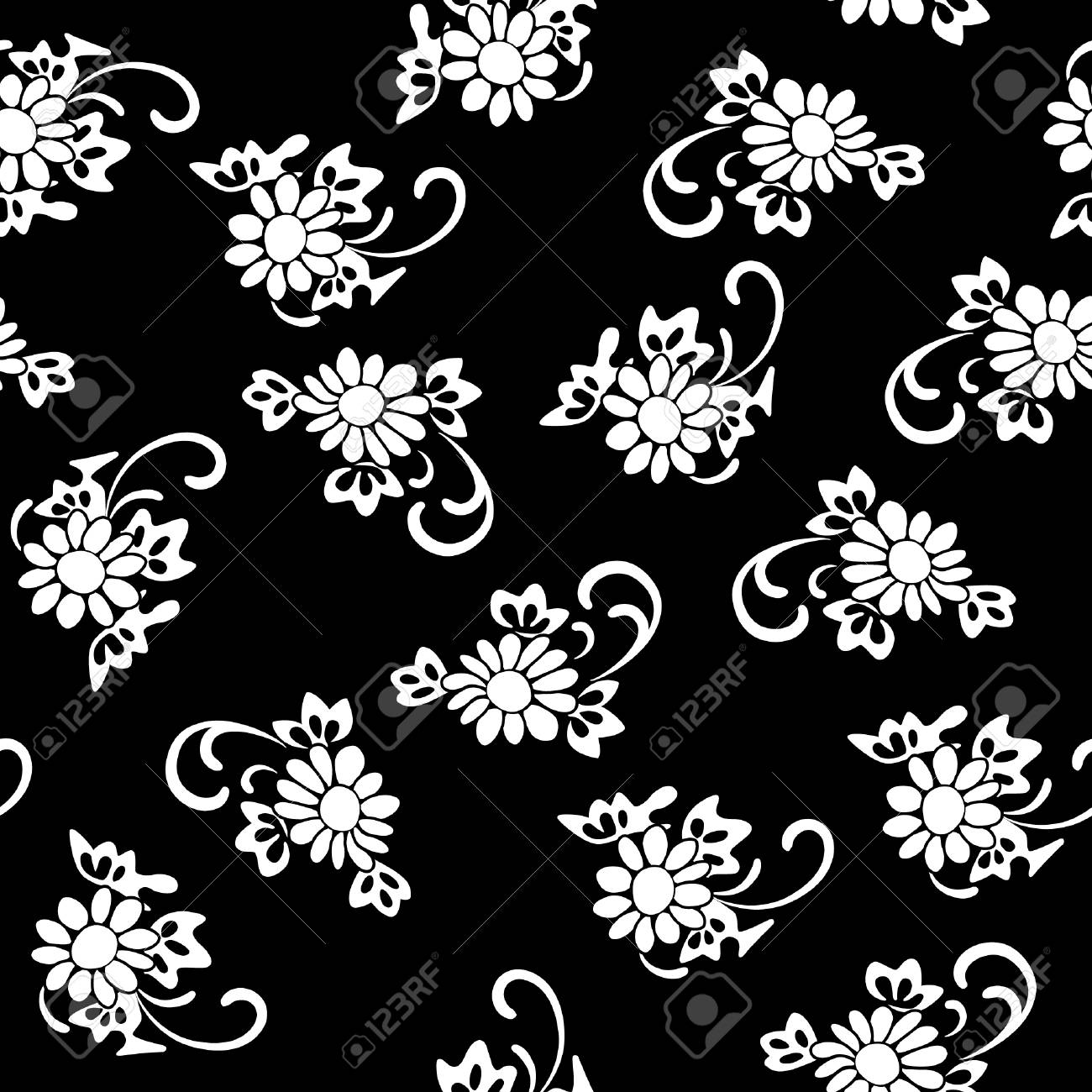 Vector illustration of black and white flower pattern white vector vector illustration of black and white flower pattern white flowers on black background seamless pattern mightylinksfo