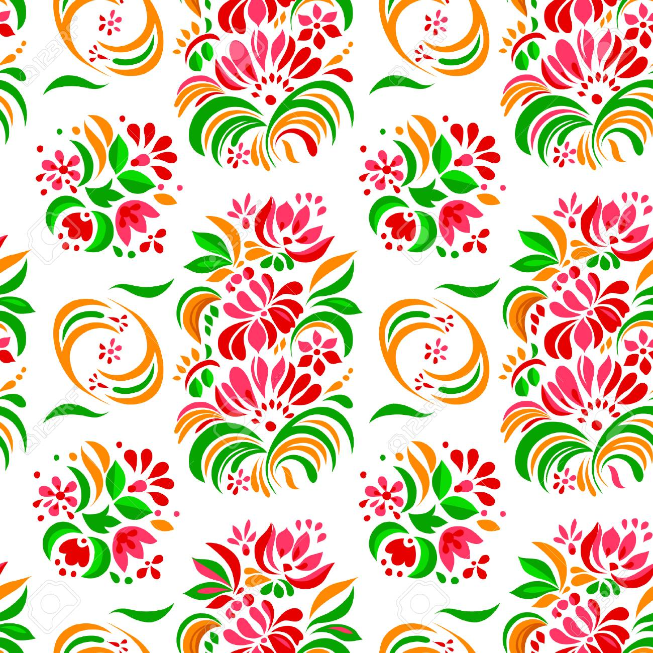 Vector Illustration Of Abstract Colorful Flowers Seamless Pattern