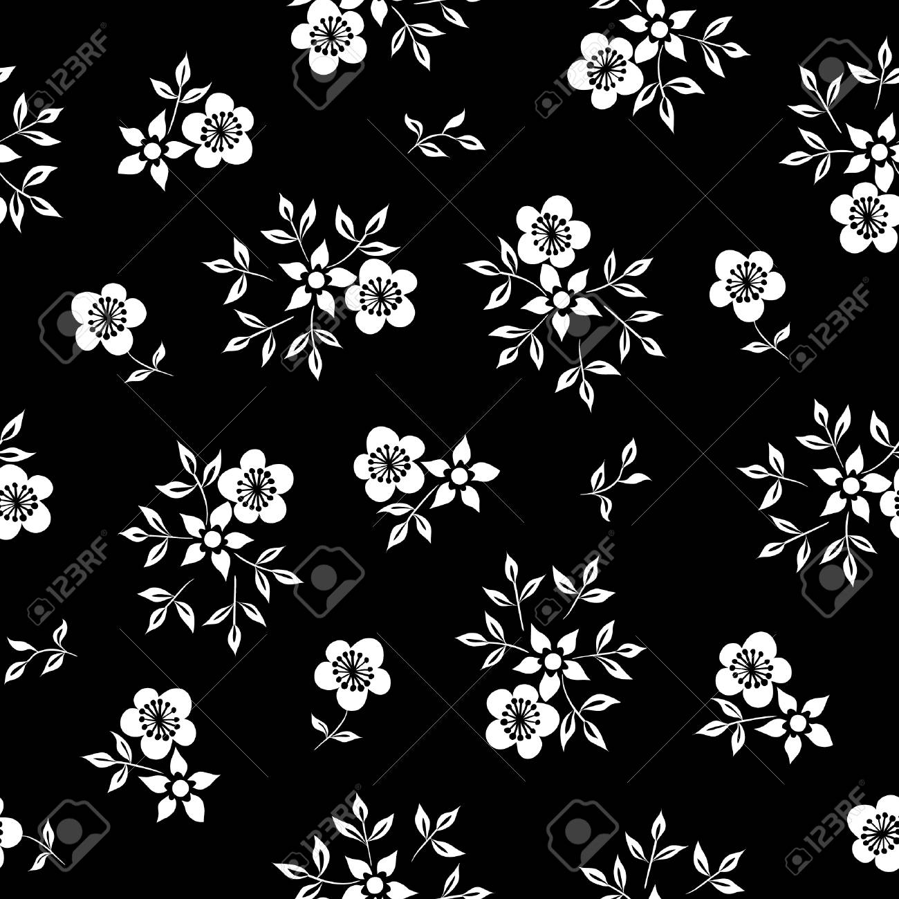 Vector Illustration Of Simple White Flowers On Black Background