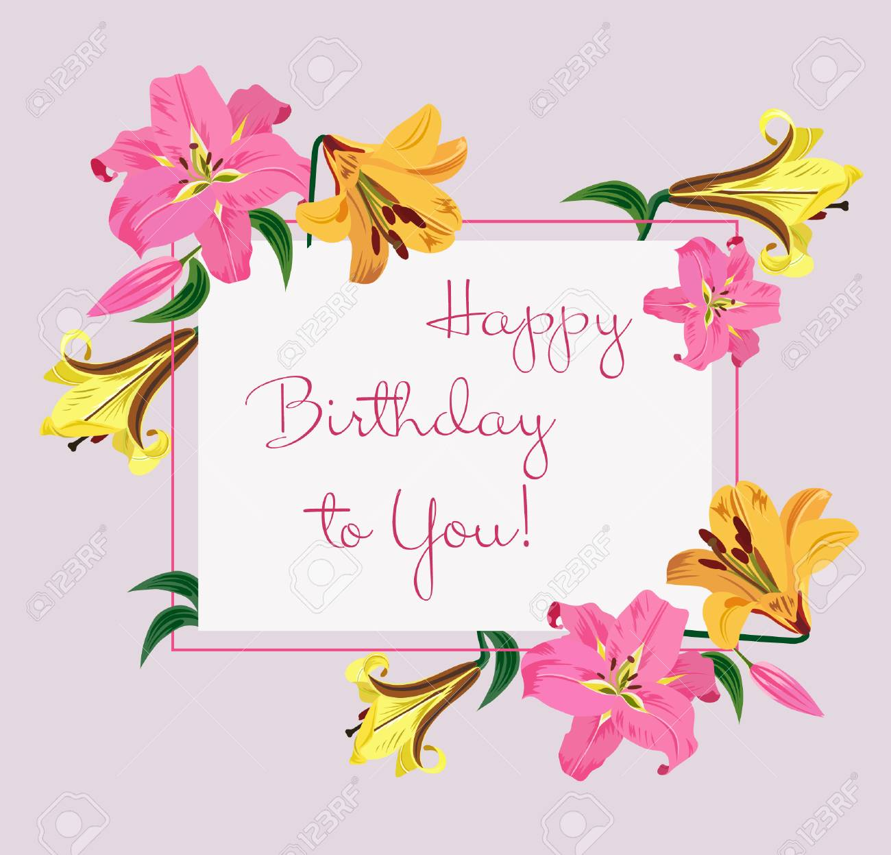 Happy Birthday Greeting Card With Colorful Lilies Flowers Vector