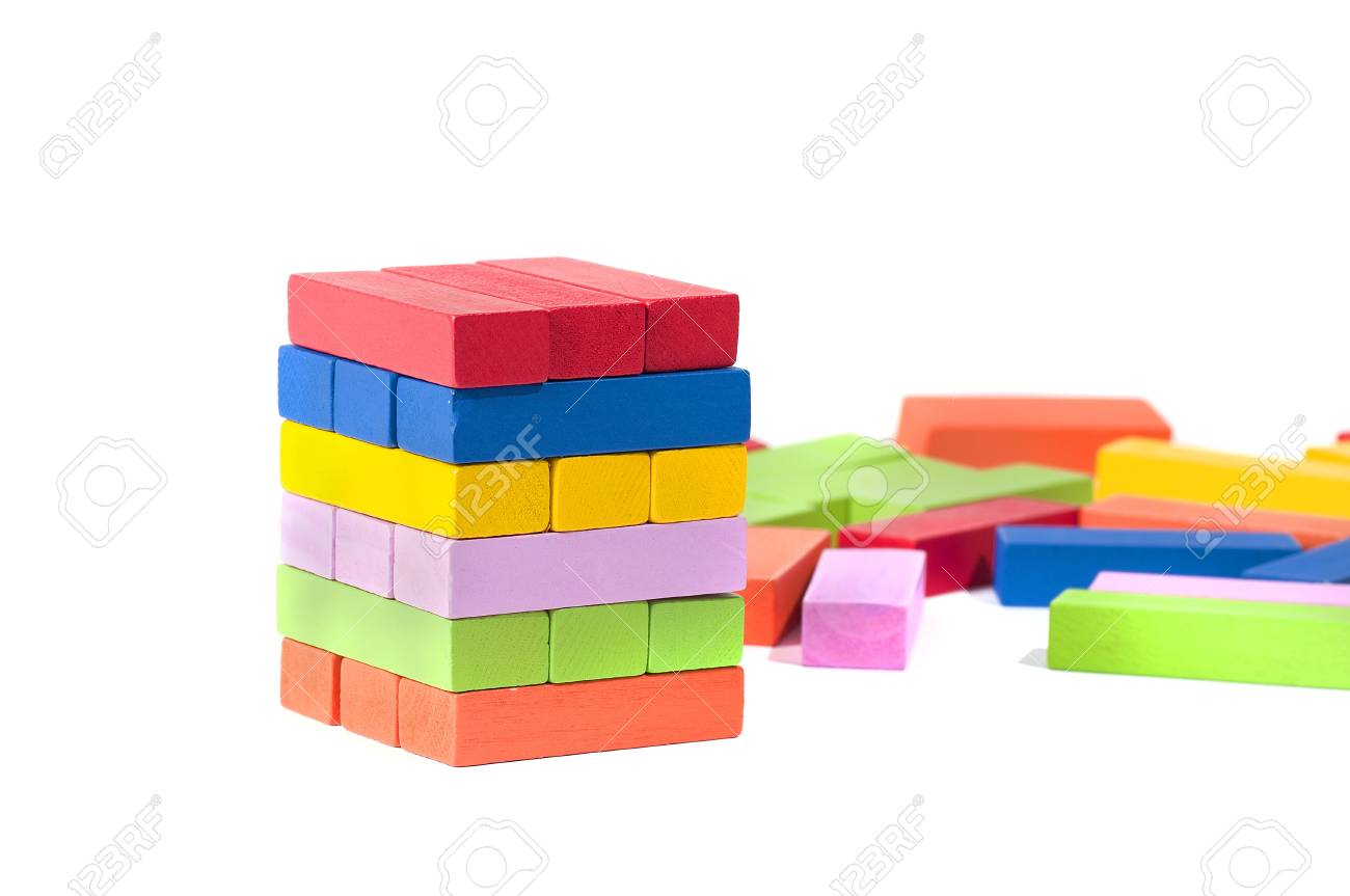 wooden building blocks, in many colors, isolated on white background Stock Photo - 17700008