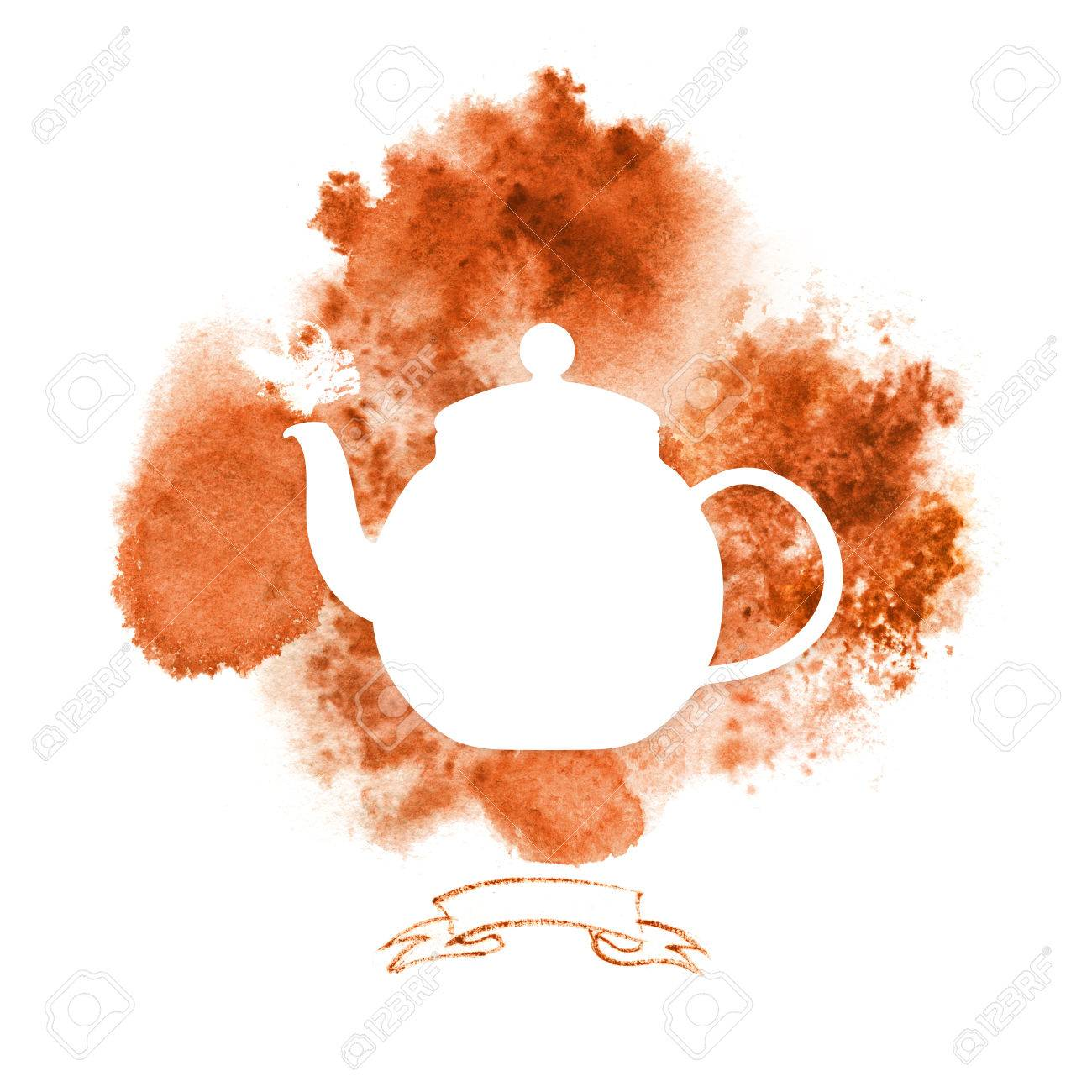 Template With Silhouette Teapot On Background With Red Tea Stains ...