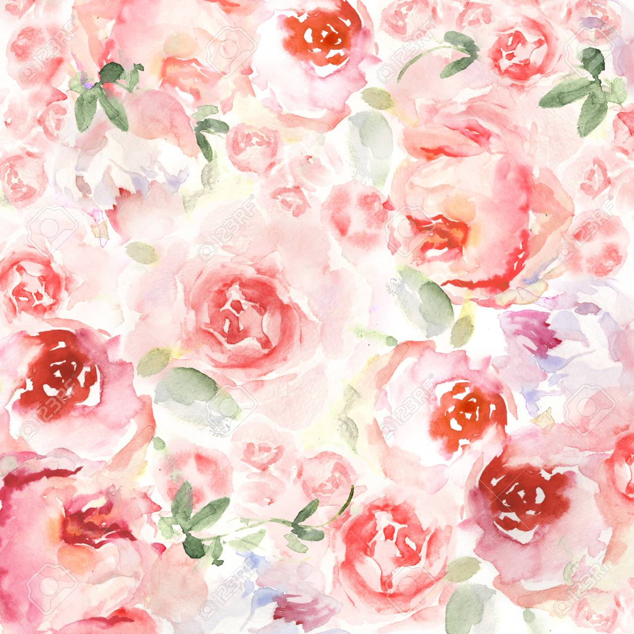 Watercolor Flower Background For Invitation Card Floral Hand