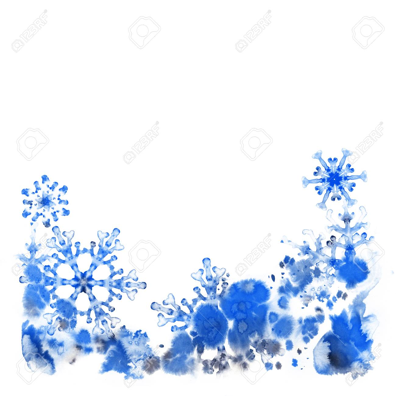 Greeting cards with ink snowflakes and frosty pattern hand painted greeting cards with ink snowflakes and frosty pattern hand painted illustration for happy new m4hsunfo