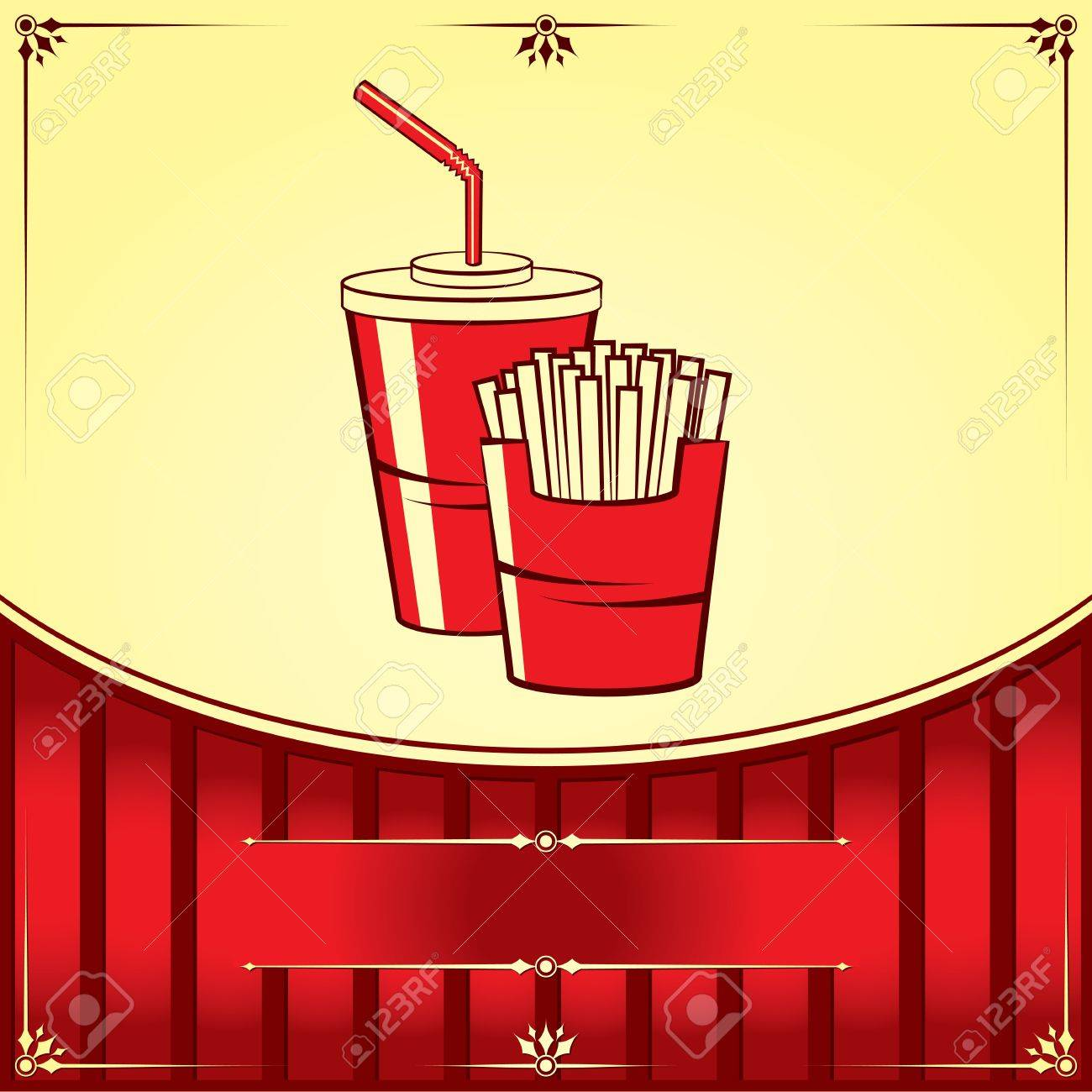 Fast food with cola and fries. Vector illustration. Stock Vector - 18237201