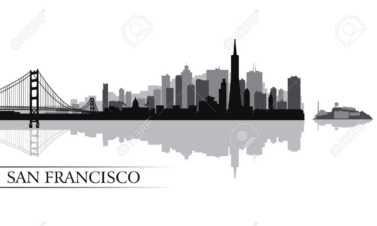 san francisco 都市スカイライン シルエット背景ベクトル イラスト