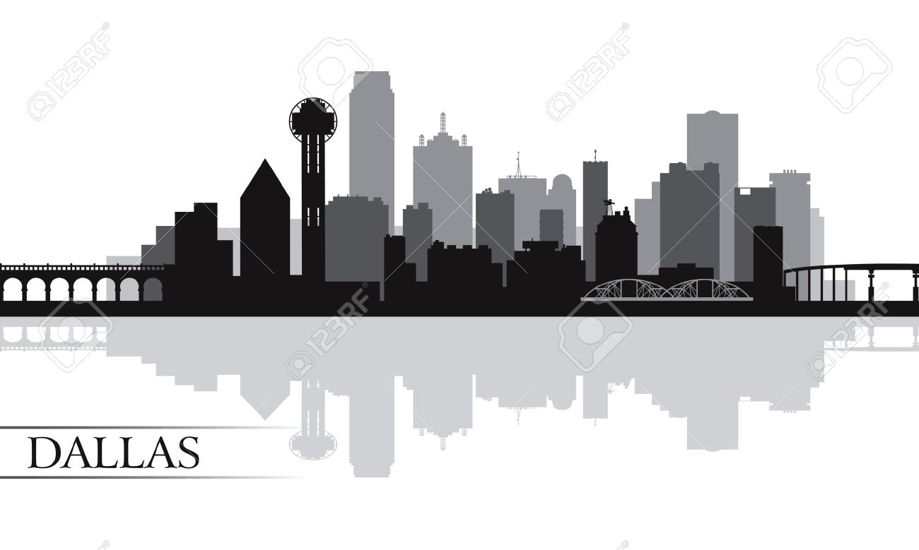 dallas city skyline silhouette background vector illustration rh 123rf com Dallas Texas Skyline Dallas Texas Skyline
