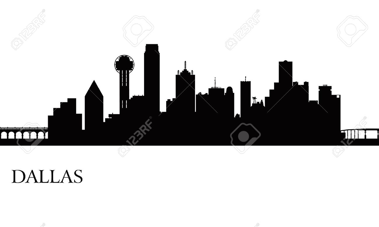 dallas city skyline silhouette background vector illustration
