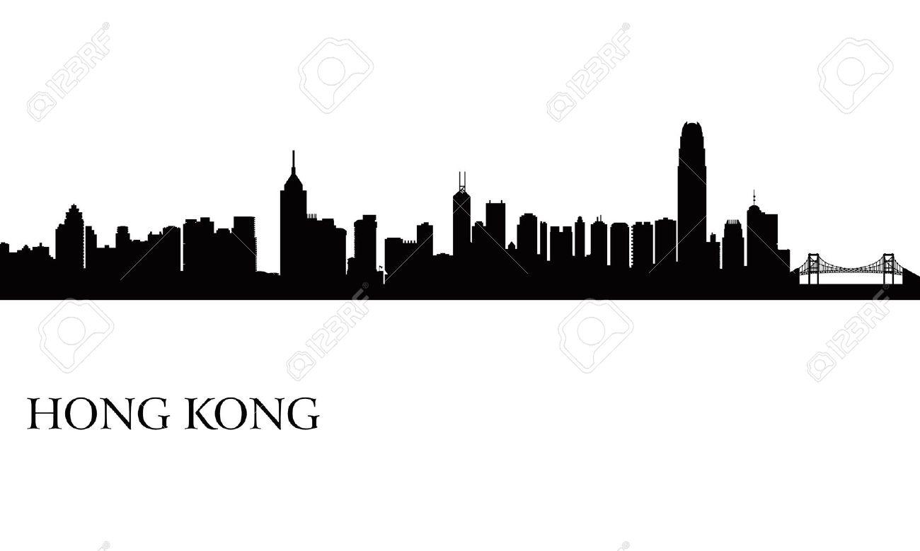 Hong Kong City Skyline Silhouette Background Vector Illustration Stock