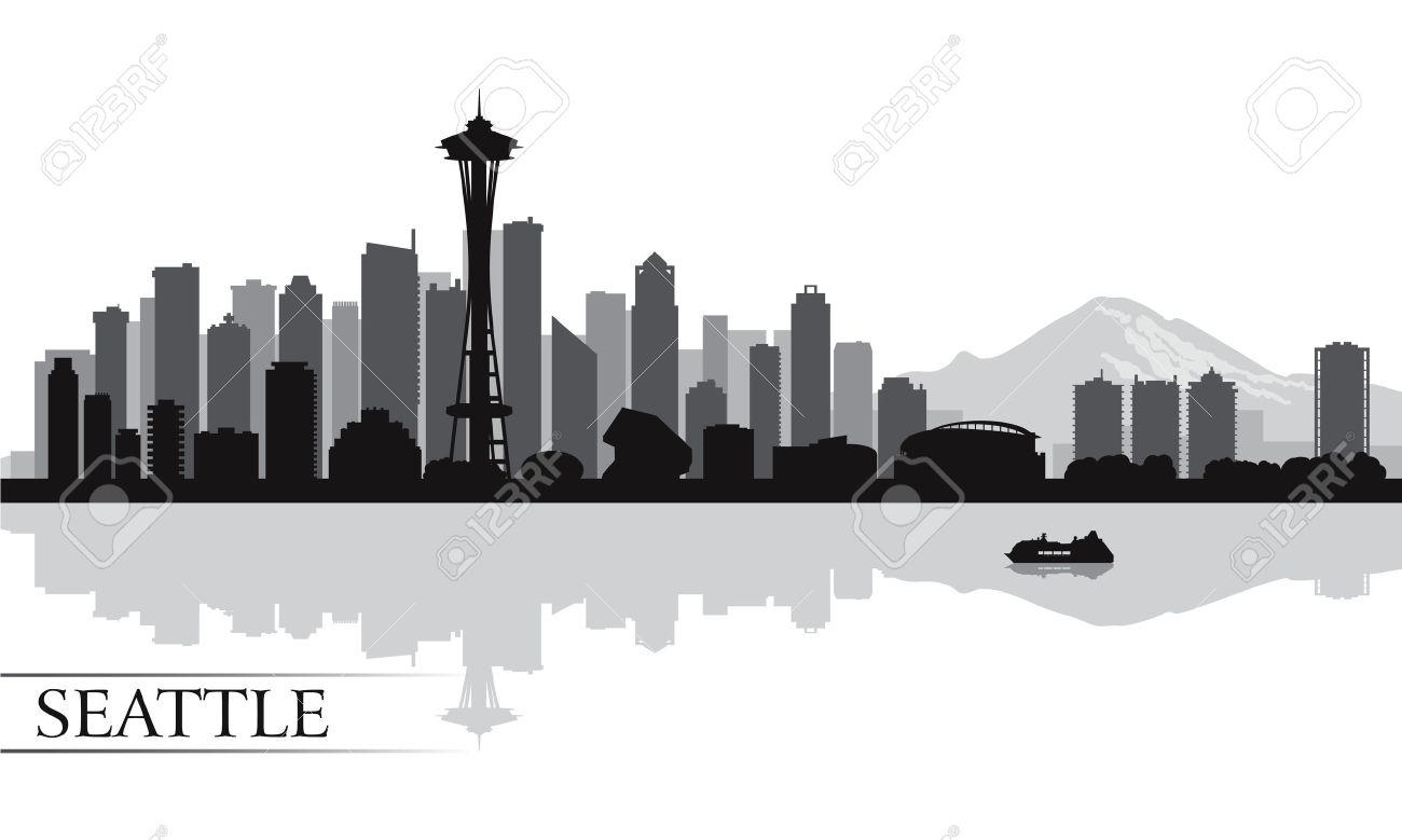 Seattle Skyline Outline Drawing Seattle City Skyline1300 x 779